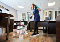 female cleaning floor